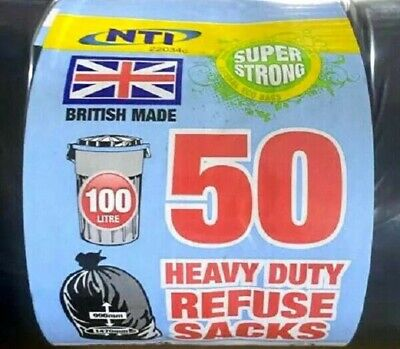 50 HEAVY DUTY BLACK REFUSE SACKS SUPER STRONG RUBBISH BIN BAGS UK Made 100 Litre