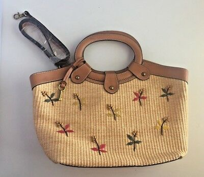 Classic Wicker (Fossil 75082 Classic Weave Woven Wicker Large Shoulder Hand Bag Leather Trim. )