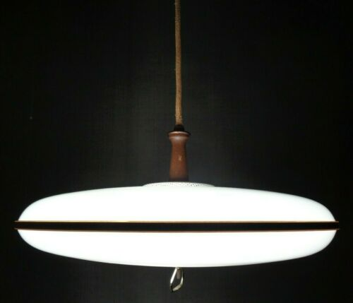 VTG Mid Century Modern Atomic Flying Saucer UFO Hanging Ceiling Lamp Light