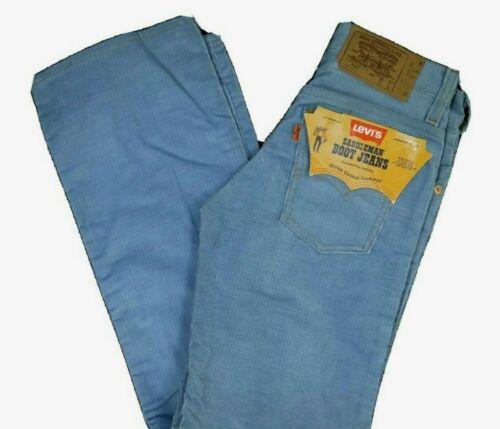 Vintage 70s Levis 716 Blue Corduroy Pants Boot Jeans Saddleman NOS NWT 25x29 USA