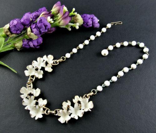 VINTAGE NECKLACE CHOCKER ENAMELED FLOWERS WHITE BEADS (K6)