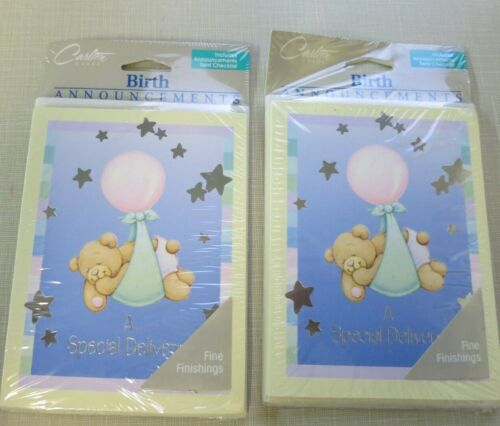 Vintage Hallmark Baby Birth Announcements—2 Sets- A Special Delivery- NEW # 1528