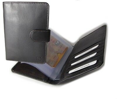 Bodenschatz Men's Women's Unisex Leather Id Case Credit card case with tab
