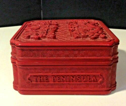Vintage The Peninsula Hong Kong Souvenir Lacquer Faux Cinnabar Soap Trinket Box