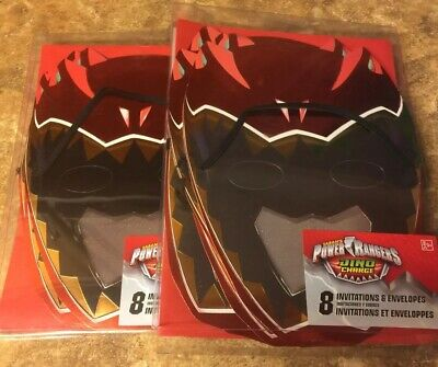 Power Rangers Invitations (Saban's Power Rangers Dino Charge Invitations & Envelopes ~NEW IN BOX~  16)
