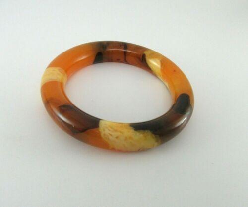 Vintage Baltic Amber Bangle Bracelet Egg Yolk 47 Grams