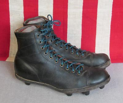 bee2609ba Vintage 1940s ASCO Sports Black Leather Football Shoes Cleats High Top Size  5.5