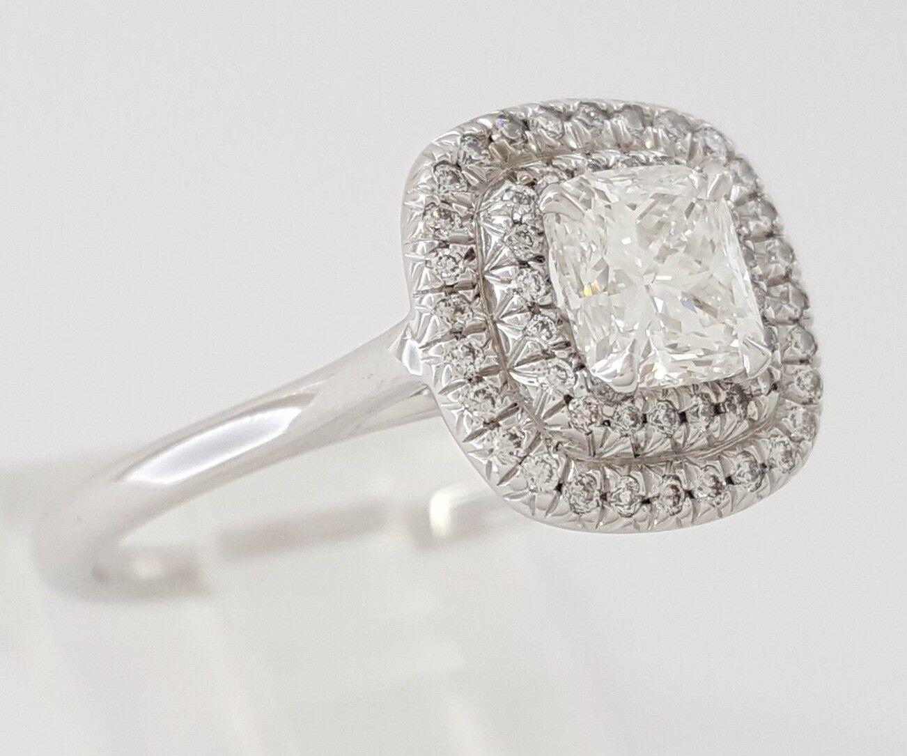 0.97 ct 18K White Gold Cushion Cut Diamond Double Halo Engagement Ring GIA E/VS1 3