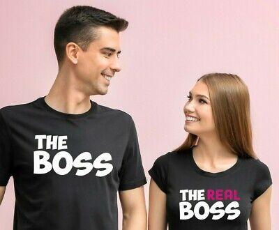 Camisetas The Boss The Real Boss, Camiseta Pareja, Aniversario, Novios Regalo