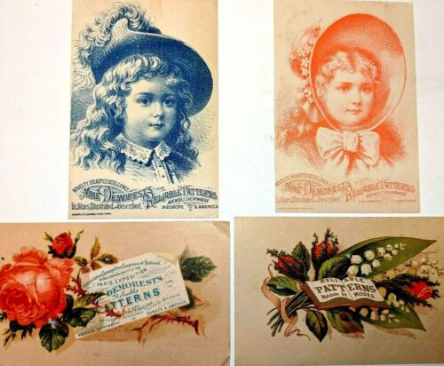1880s LOT of 4 Mme. Demorest Patterns Trade Cards - Chapel St. New Haven Conn