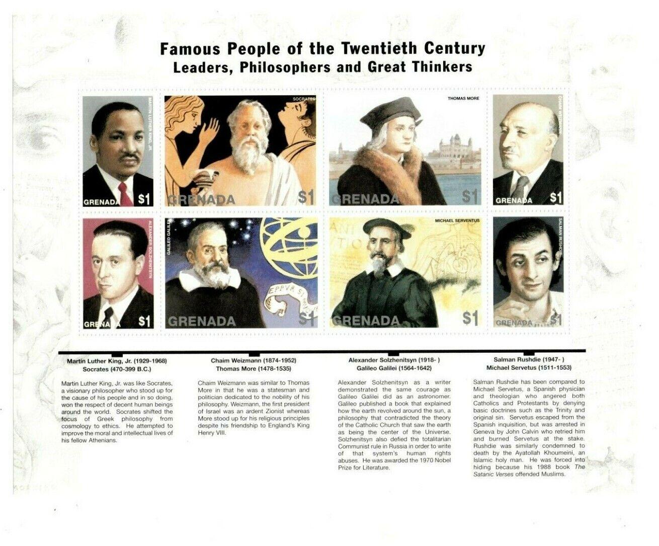 Grenada - 1999 - Famous Philosophers - Sheet Of 8 - MNH