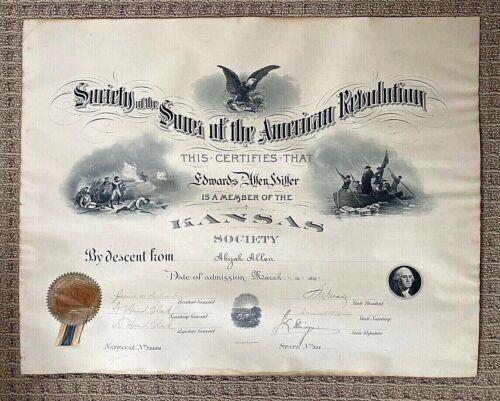 ORIGINAL- AMERICAN REVOLUTIONARY WAR SONS of the AMERICAN REVOLUTION CERTIFICATE