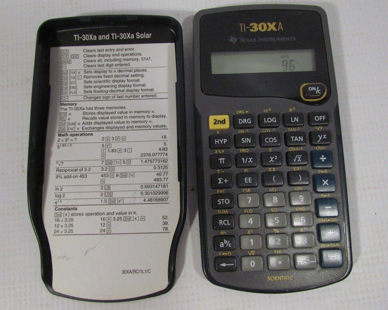 Texas Instruments TI-30XA Scientific Calculator With Cover Tested