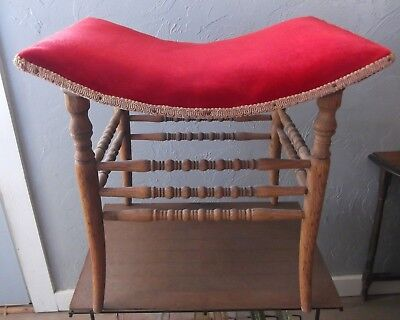 Sturdy Vintage Wooden Curved Seat Chair or Stool with Red Velvet Cover