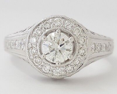 0.75 ct 18K White Gold Round Diamond Halo Engagement Ring GIA Rtl $2,700