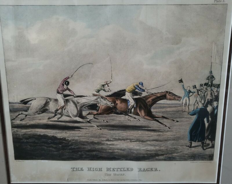 "Antique Horse Racing Lithograph ""The High Mettled Racer"" Alken Sunderland Fuller"