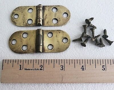 PAIR OF OVAL SOLID BRASS ANTIQUE HINGES WITH SCREWS 1 1/4 X 3 1/4 INCHES (N2)