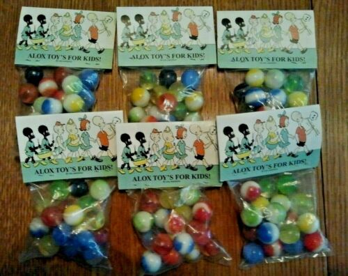 6 Bags Old Alox Toy Marble Bag featuring Comic strip character.NOS