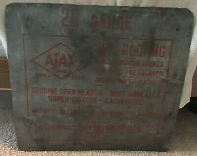Vintage Cincinnati Sheet Metal And Roofing Company Sign Ohio Ajax Galvanized