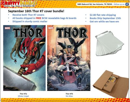 Marvel Thor #7 COVER BUNDLE 9/16 PRE-ORDER FREE BAG AND BOARD!