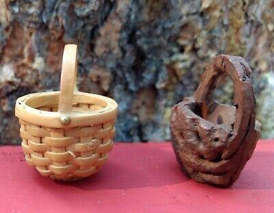 Hand Carved Wood + Handwoven Wicker Miniature Baskets Pair (2) Vintage - Wicker Baskets Wholesale