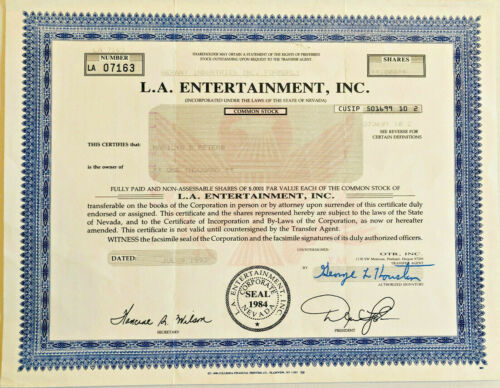 L.A. Entertainment Corporation stock certificate