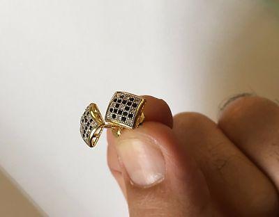 Valentine 1Ct Round Black Diamond Cluster Stud Earrings 14k Yellow Gold - Black Diamond Cluster Earrings