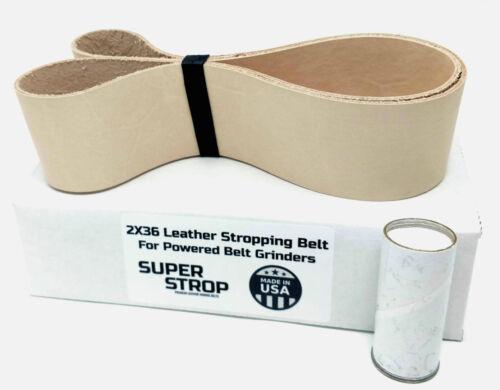 2 X 36 inch Super Strop Leather Honing Strop Belt fits 2X36 and 4X36 Belt Sander