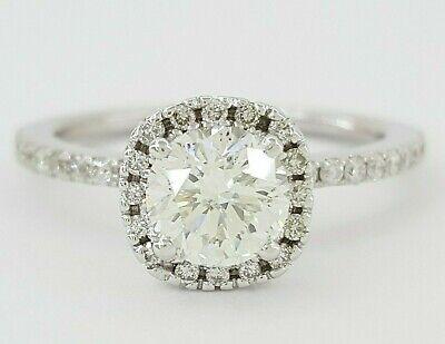 1.20 ct 14K White Gold Round Cut Diamond Halo Engagement Ring GIA I / SI2
