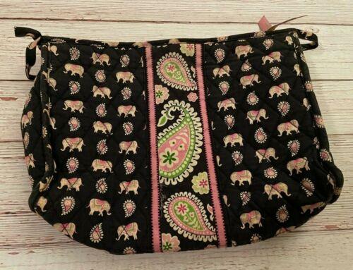 Vera Bradley Large Cosmetic Bag in Pink Elephants - Make Up Case - Black Paisley