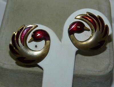 Vintage Crown Stamp Pheonix Duck Bird Cloisonné Enamel Gold Clip Earrings 11a 52](Pheonix Costume)