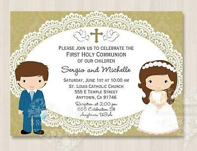 Twins Communion Invitations - 10 Twin Boy Girl Blue Suit Communion Invitations Envelopes Beautiful Shipped