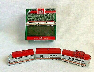 Hallmark Christmas Ornaments SIlver Star Train Locomotive Luggage Dome Cars Set