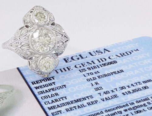 2.85 ct Art Deco Platinum Old European Cut Diamond Engagement Ring Rtl $18,850