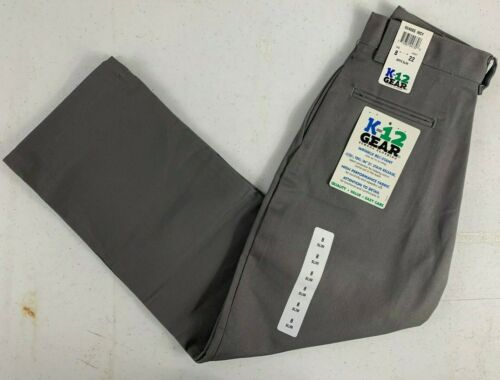 K12 Gear Boys School Uniform Pants Gray NWT 6546BS Size 8 or 12 UNI02