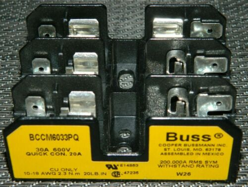 NEW Bussman BCCM6033PQ Fuse Block 3 Pole 600V 30A 10-18 AWG (Quick Connect 20A)