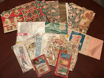 Vintage Christmas and Happy Borthday Gift Wrap / Wrapping, / Tissue paper & Tags