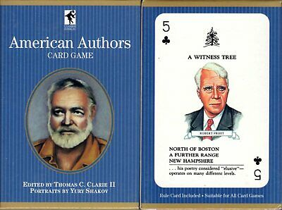 American Authors Playing Cards Game Bridge Size Deck USGS Custom -