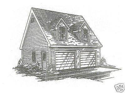 26x26 2 Car TD/LD Garage Building Blueprint Plans / Loft