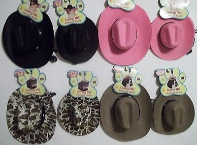 Halloween Pet Costume Cowboy Hat Black Pink Leopard Brown Size S /M  M/ - Pink M&m Halloween Costume