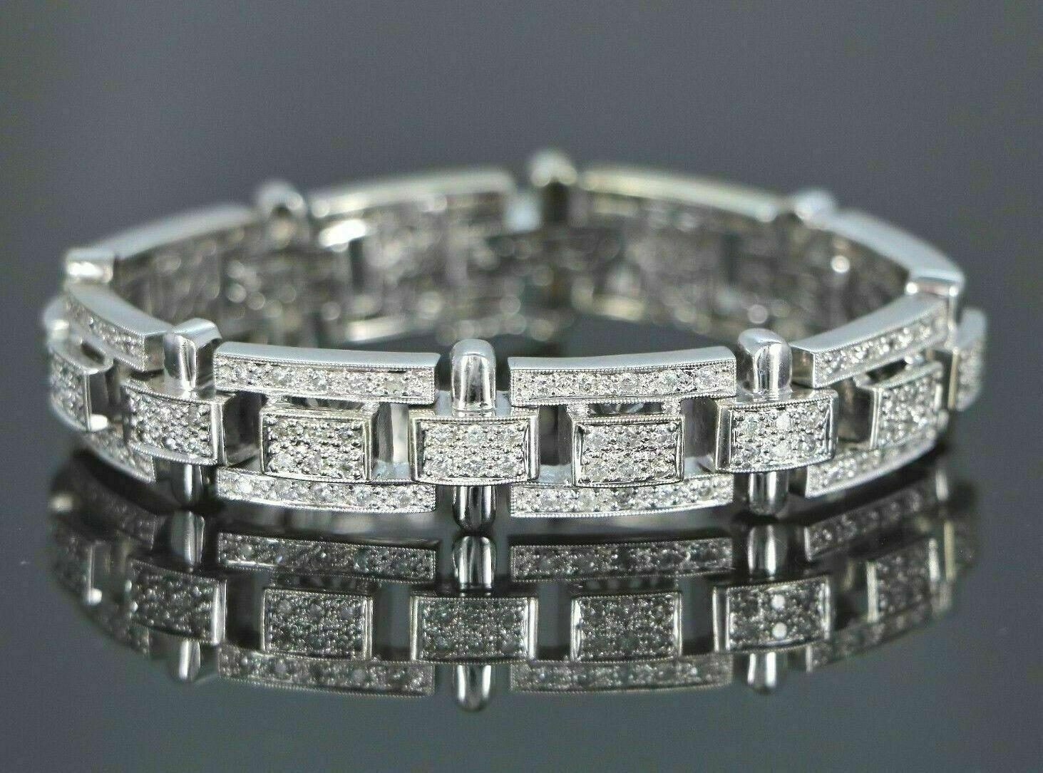 13.25Ct Round Cut Diamond 14K White Gold Over Men's Exclusive Tennis Bracelet