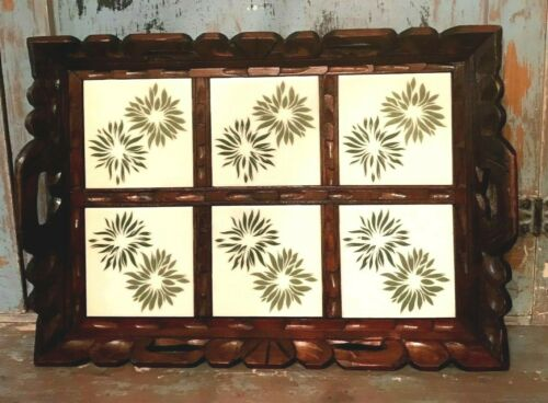 VINTAGE MEXICAN POTTERY TILE TRAY HAND CRAVED WOOD MEXICAN TILE POTTERY TRAY
