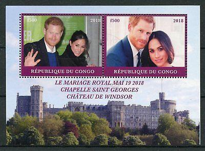 Congo 2018 CTO Prince Harry & Meghan Royal Wedding 2v M/S Royalty Stamps