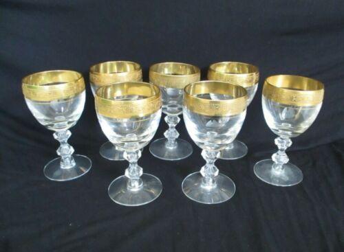 """7 Tiffin Franciscan WESTCHESTER Stem 17679 Gold Encrusted 5"""" Wine Glasses"""