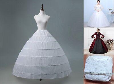 6 Ring HOOP White WEDDING BRIDAL PROM PETTICOAT UNDERSKIRT CRINOLINE SLIP Gown ()