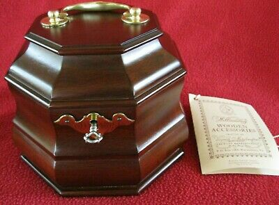 Vtg Virginia Metalcrafters Colonial Repro Williamsburg Wood Tea Caddy/Box w/Key
