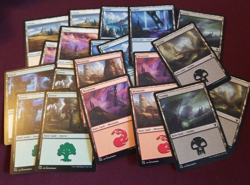 100 Basic Lands Set Mtg Magic The Gathering - Lot Of 20 Of Each Color - New, Nm