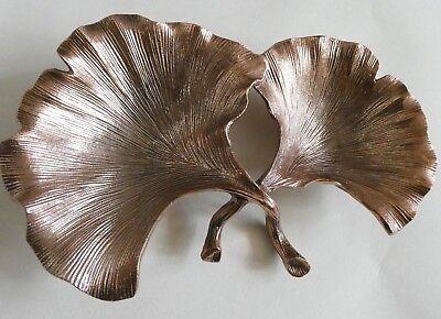 Leaf Wall Plate (Metal Leaf Wall Art - Trinket Plate - Gingko Leaf Ornament - Rose Gold Tone)