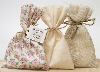 Pink Tea Rose Hessian Wedding Favour Bags Shabby Chic Vintage Personalised