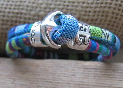 Ethno Armband blau bunt Herren Damen beige Unisex Bracelet Anker Pulsera Mexiko